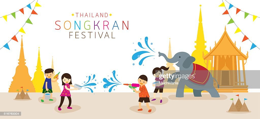 Songkran Festival, Kids Playing Water in Temple