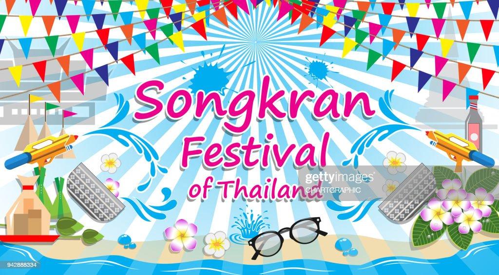 Songkran Festival of Thailand, vector sign symbol