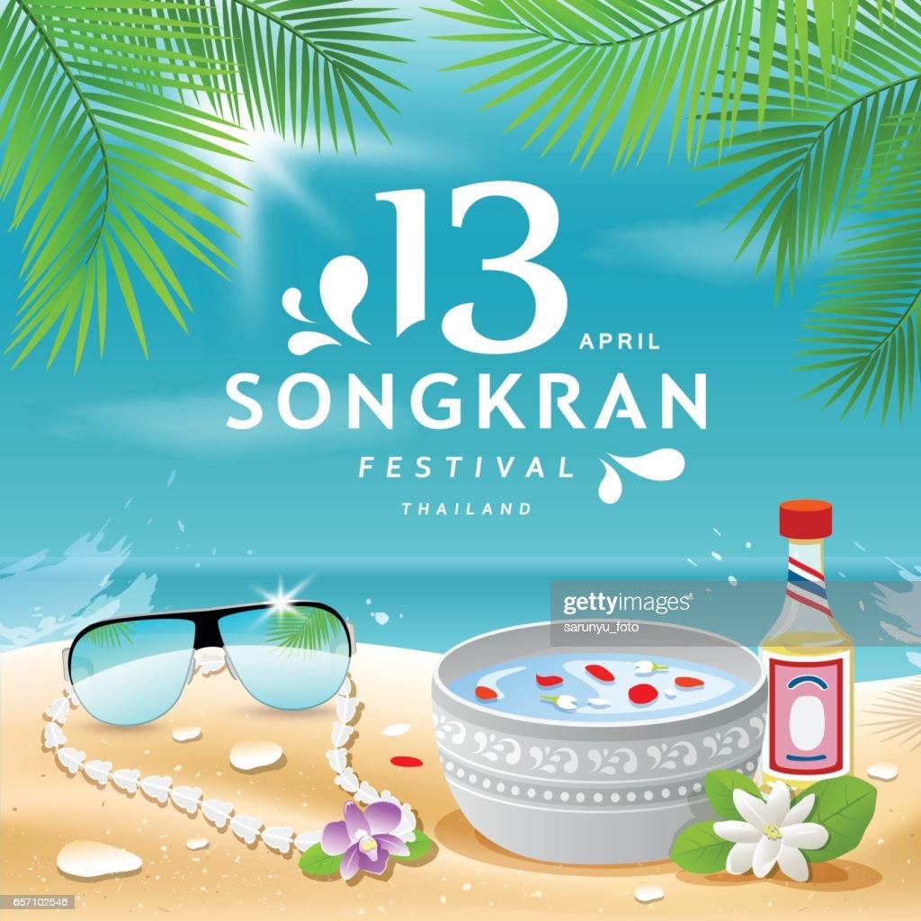 Songkran Festival summer of Thailand on sea