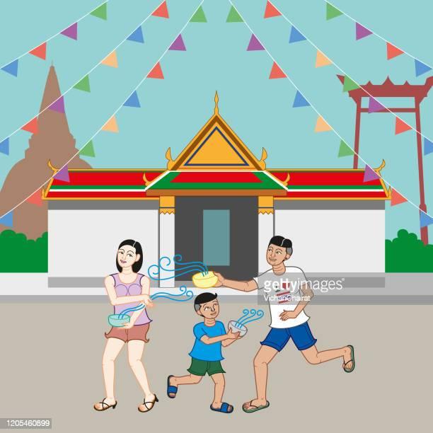 songkran festival - buddhist new year stock illustrations