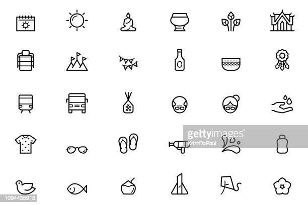songkran icons - buddhist new year stock illustrations