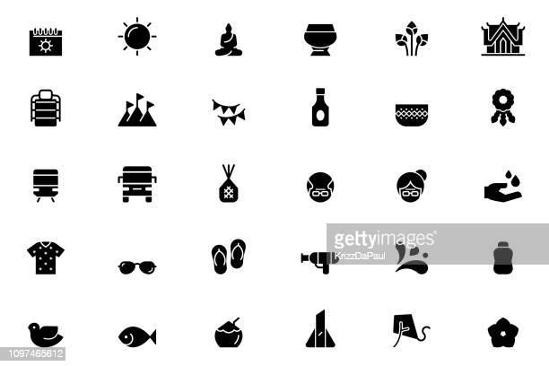 ソンクラーンのアイコン - ジャスミン点のイラスト素材/クリップアート素材/マンガ素材/アイコン素材