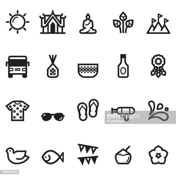 songkran icons - thailand stock illustrations