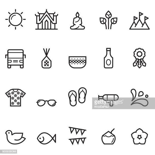 ソンクラーン細い線アイコン - ジャスミン点のイラスト素材/クリップアート素材/マンガ素材/アイコン素材