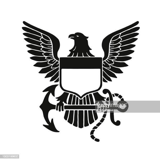 soon eagle emblem - animal wing stock illustrations