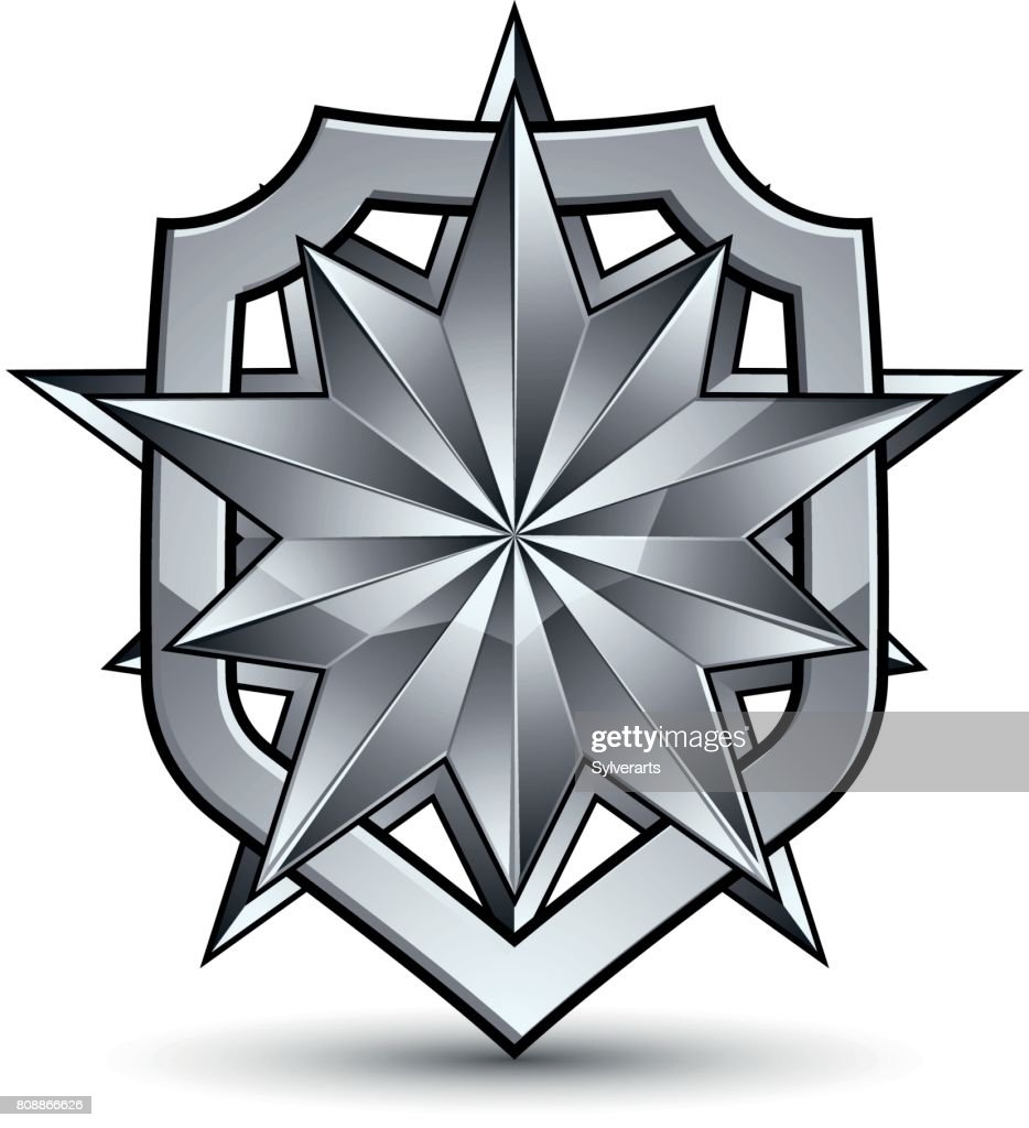 Sophisticated vector blazon with a silver star emblem, silvery 3d polygonal design element, metallic clear EPS 8.