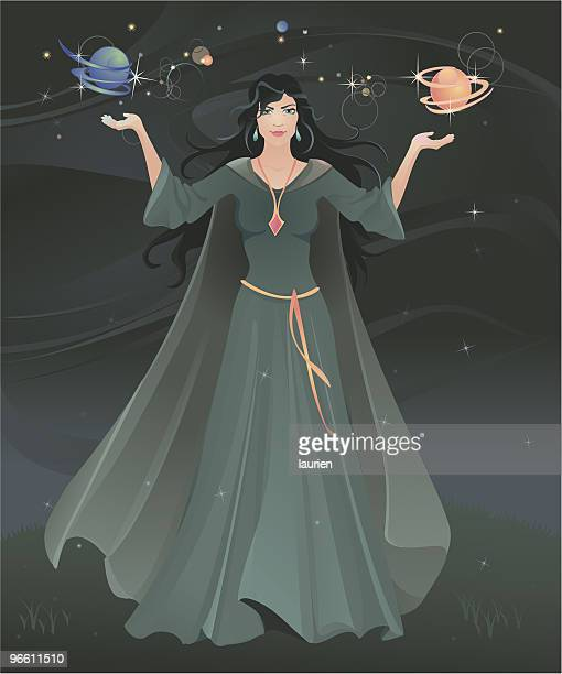 sorceress confuring a spell. - wizard stock illustrations, clip art, cartoons, & icons