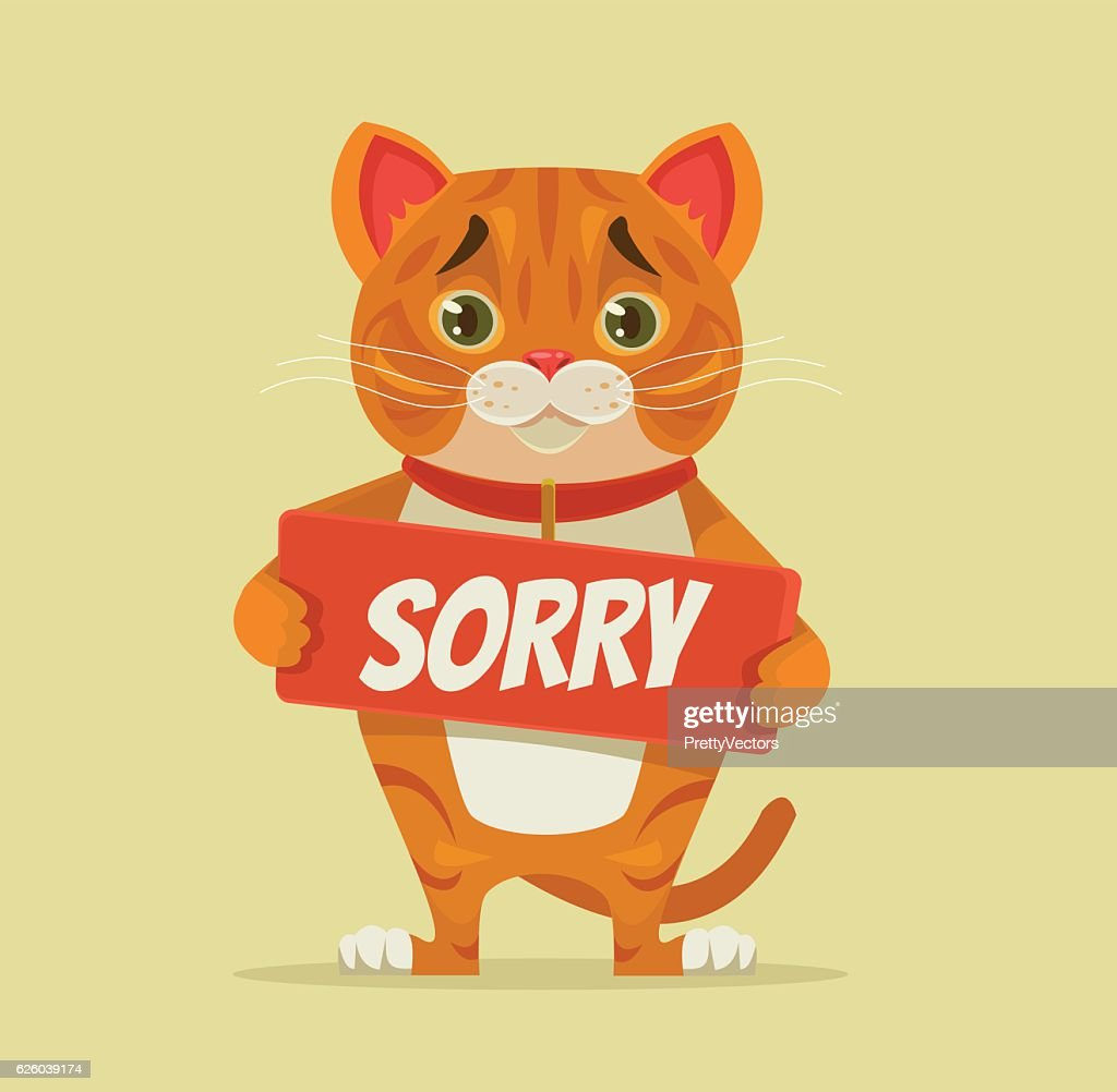 Sorry cat character hold apology plate
