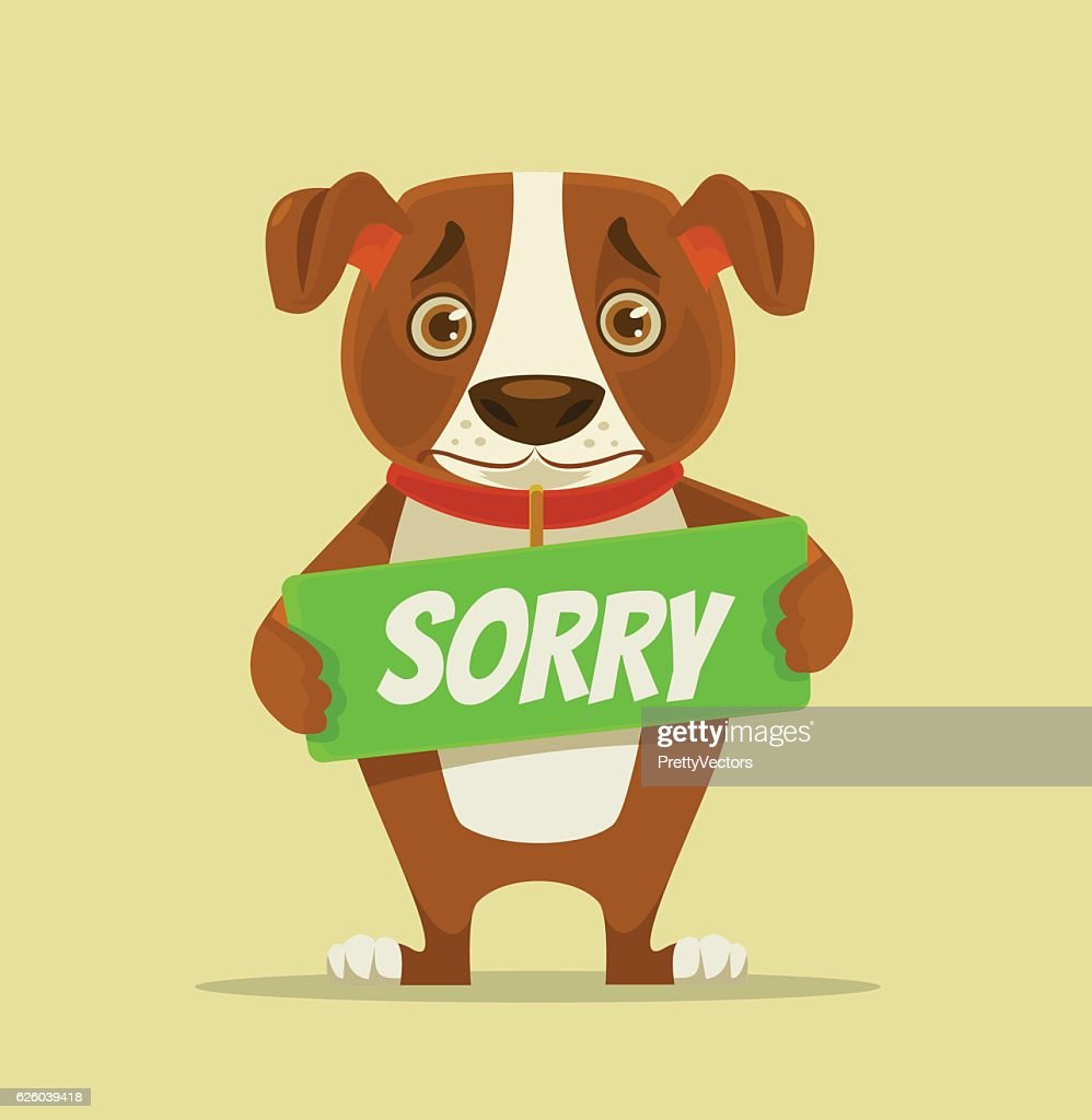Sorry dog character hold apology plate