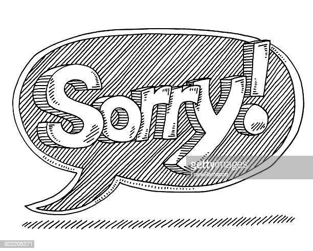 sorry text speech bubble drawing - reconciliation stock illustrations