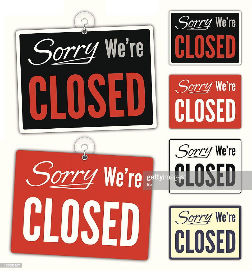 Sorry We're Closed Signs : stock illustration