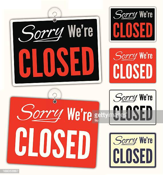 sorry we're closed signs - closing stock illustrations, clip art, cartoons, & icons