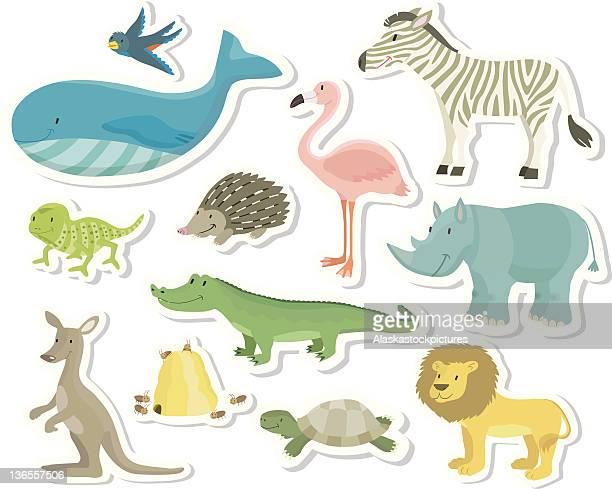ilustraciones, imágenes clip art, dibujos animados e iconos de stock de sortiment de animales para niños (2/2). - biodiversidad
