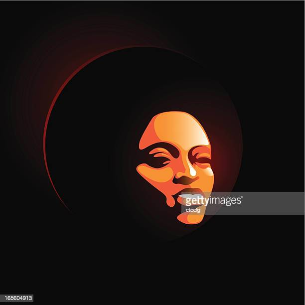 soul lady smile - afro stock illustrations