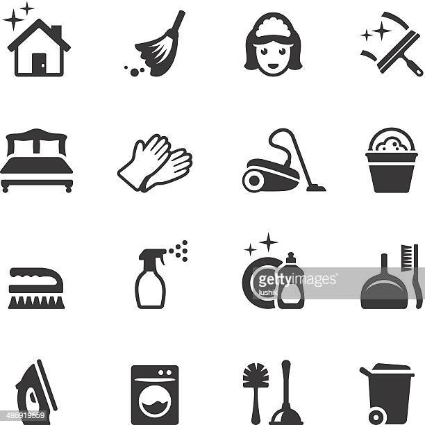 soulico - cleaning icons - toilet brush stock illustrations, clip art, cartoons, & icons