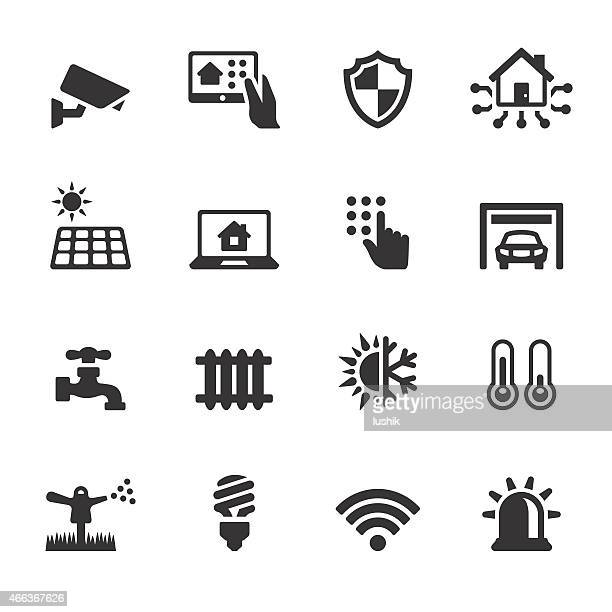 soulico icons - automated house - security camera stock illustrations
