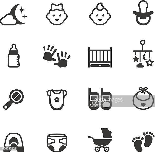 ilustraciones, imágenes clip art, dibujos animados e iconos de stock de soulico iconos de bebé - huella de mano