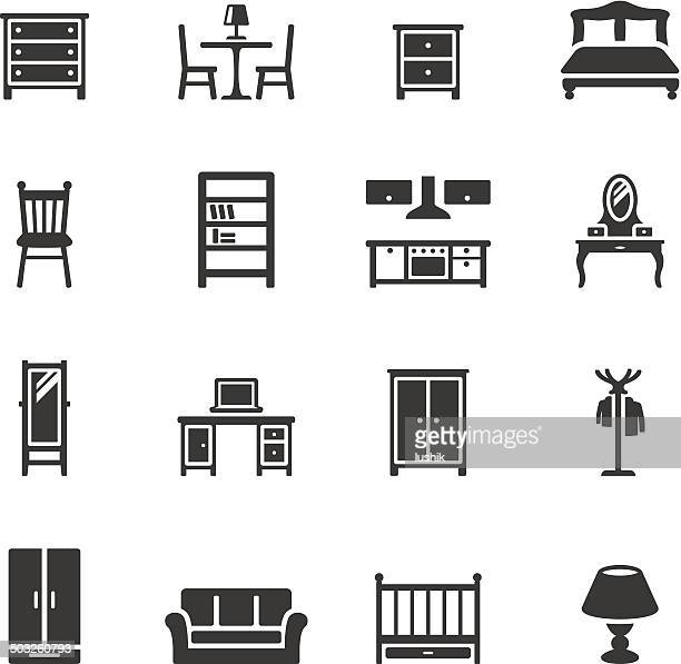 soulico icons - furniture - display cabinet stock illustrations, clip art, cartoons, & icons