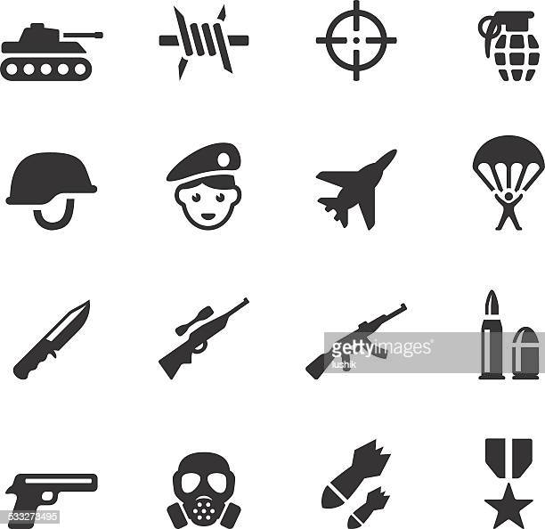 soulico icons - military - war stock illustrations