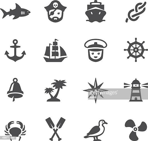 soulico icons - nautical - pirate boat stock illustrations, clip art, cartoons, & icons