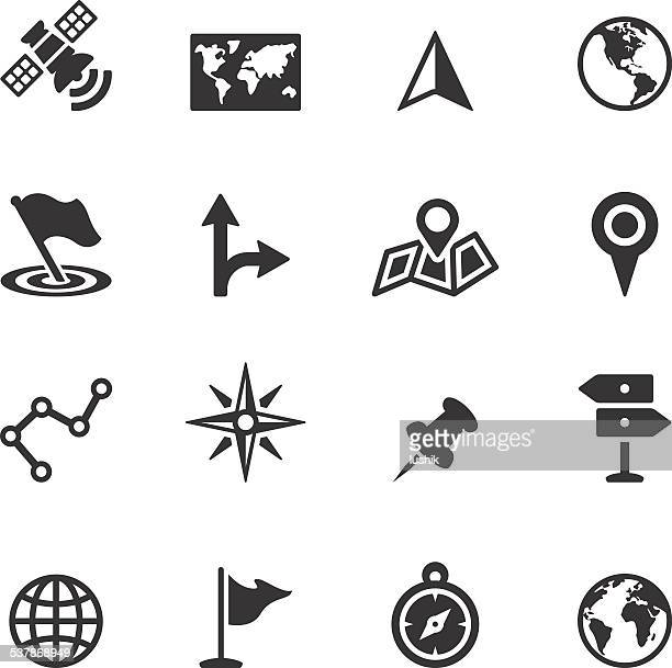soulico icons - navigation and map - cartography stock illustrations