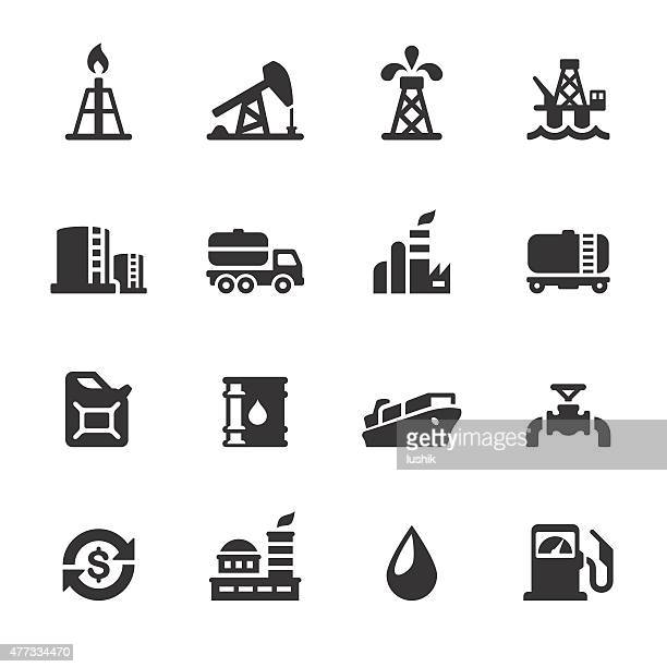 soulico icons - oil industry - fuel pump stock illustrations, clip art, cartoons, & icons