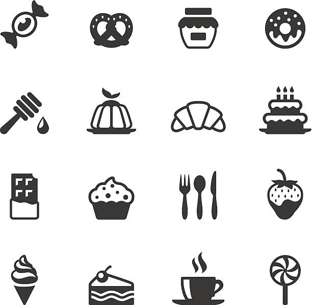 soulico icons - sweet food - frozen food stock illustrations