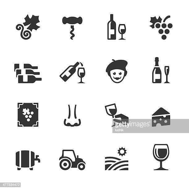 soulico icons - vineyard and wine - red wine stock illustrations, clip art, cartoons, & icons
