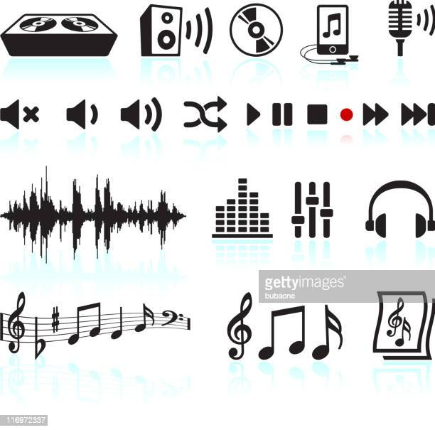 sound and music black & white vector icon set - shuffling stock illustrations
