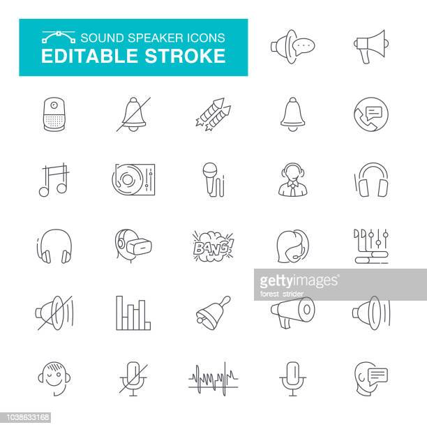 Sound and Speaker Editable Stroke Icons