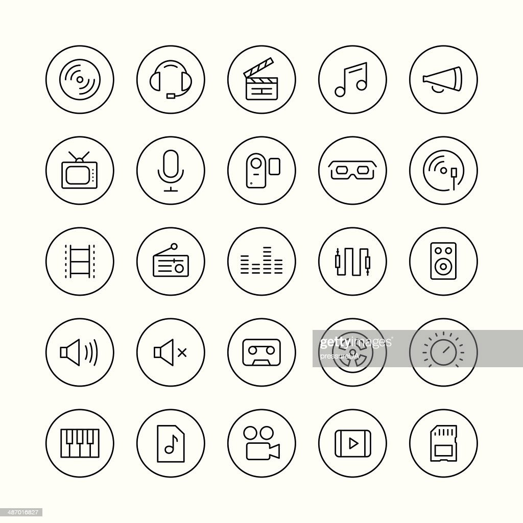Sound and video thin line icons set
