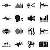 Sound And Volume Icons. Black Flat Design. Vector Illustration.