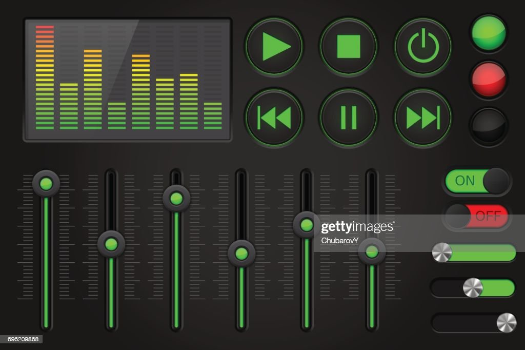 Sound equalizer with slider and media player buttons. Black and green collection