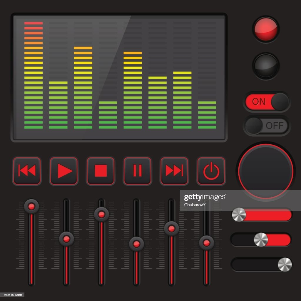 Sound equalizer with slider and media player buttons. Black and red collection