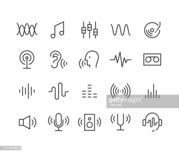 illustrazioni stock, clip art, cartoni animati e icone di tendenza di sound icons - classic line series - wireless technology