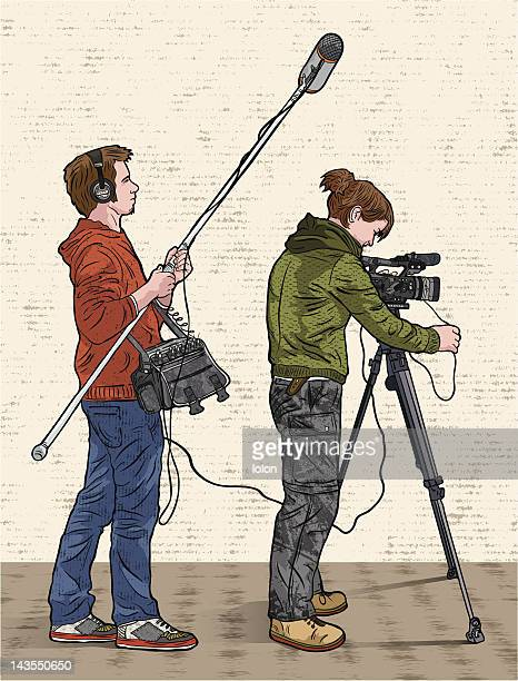 sound operator and camara woman filming - camera operator stock illustrations, clip art, cartoons, & icons