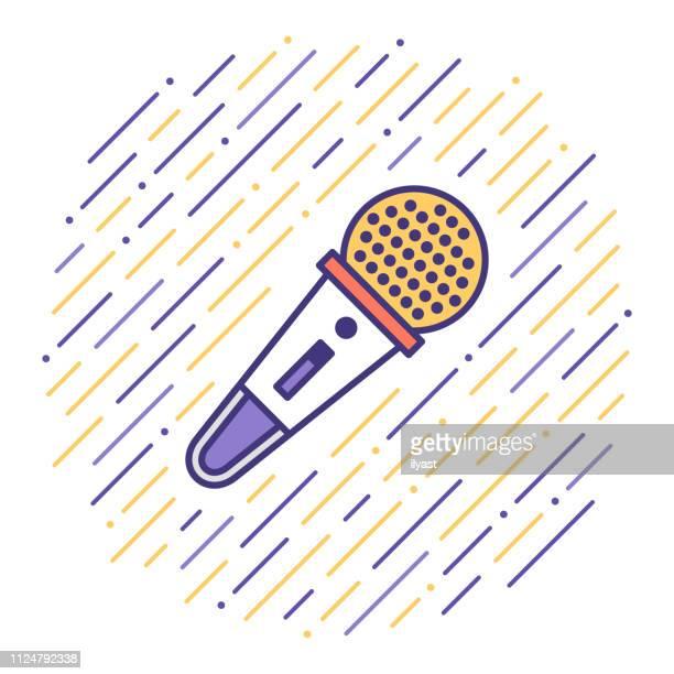 illustrations, cliparts, dessins animés et icônes de enregistrement sonore & reproduction ligne plate icône illustration - musicien pop