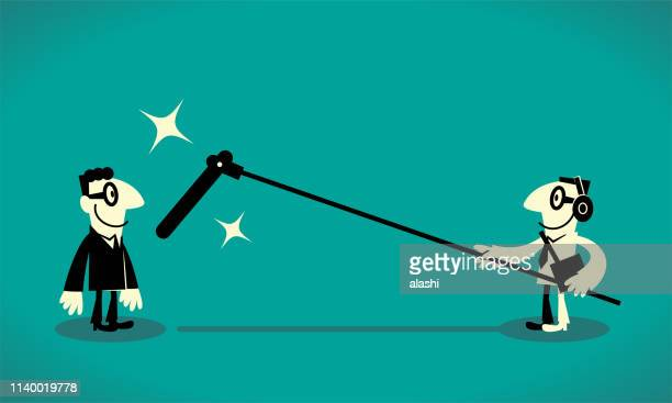 sound recordist with a long microphone recording a businessman - long stock illustrations