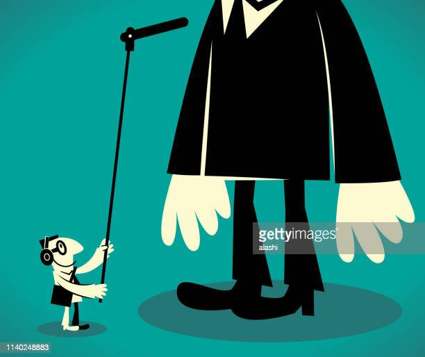 sound recordist with a long microphone recording a giant tall businessman - tall person stock illustrations