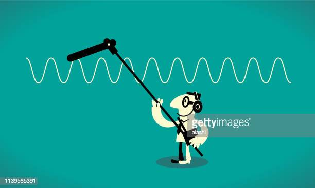 sound recordist with sound recording equipment holding a microphone - soundtrack stock illustrations, clip art, cartoons, & icons