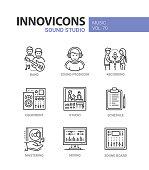 Sound studio - line design icons set