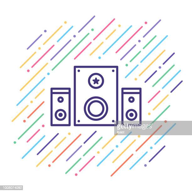 sound system line icon - surrounding stock illustrations, clip art, cartoons, & icons