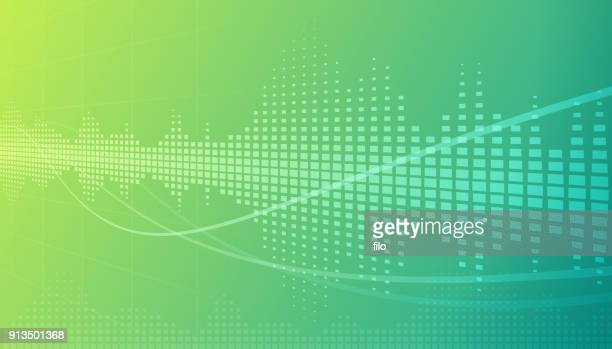 illustrazioni stock, clip art, cartoni animati e icone di tendenza di sound wave abstract background - segnare