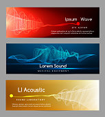 Sound wave banners. Digital abstract vibrant waveform lines energy cards vector illustration