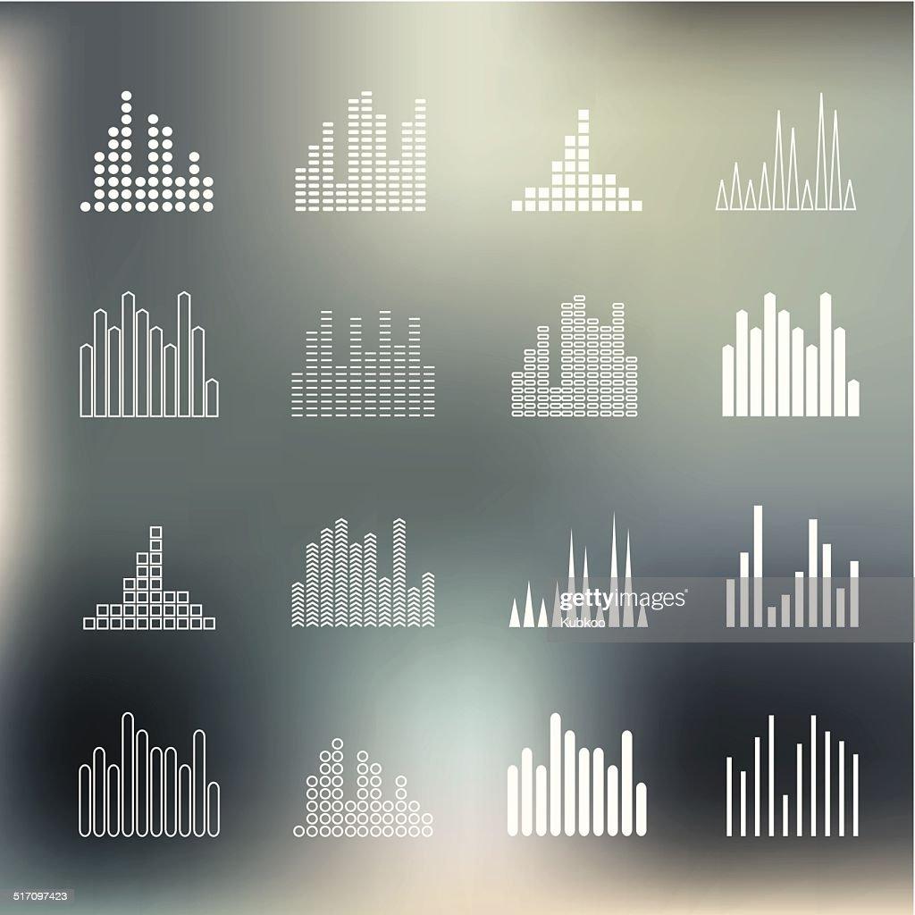 Sound wave shapes on blur background.