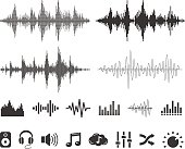 Sound Waves and Icons - Vector Set