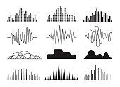 Sound waves icons set.