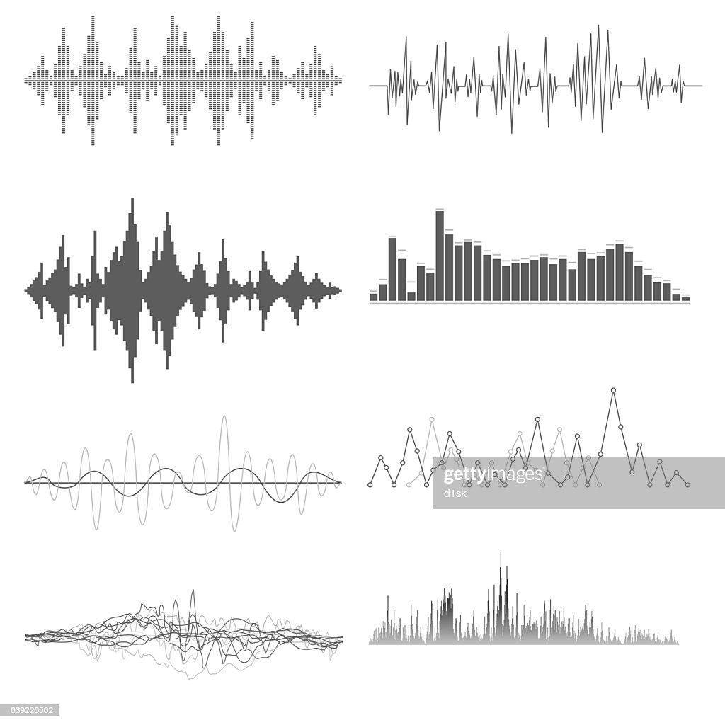 Sound waves on white background