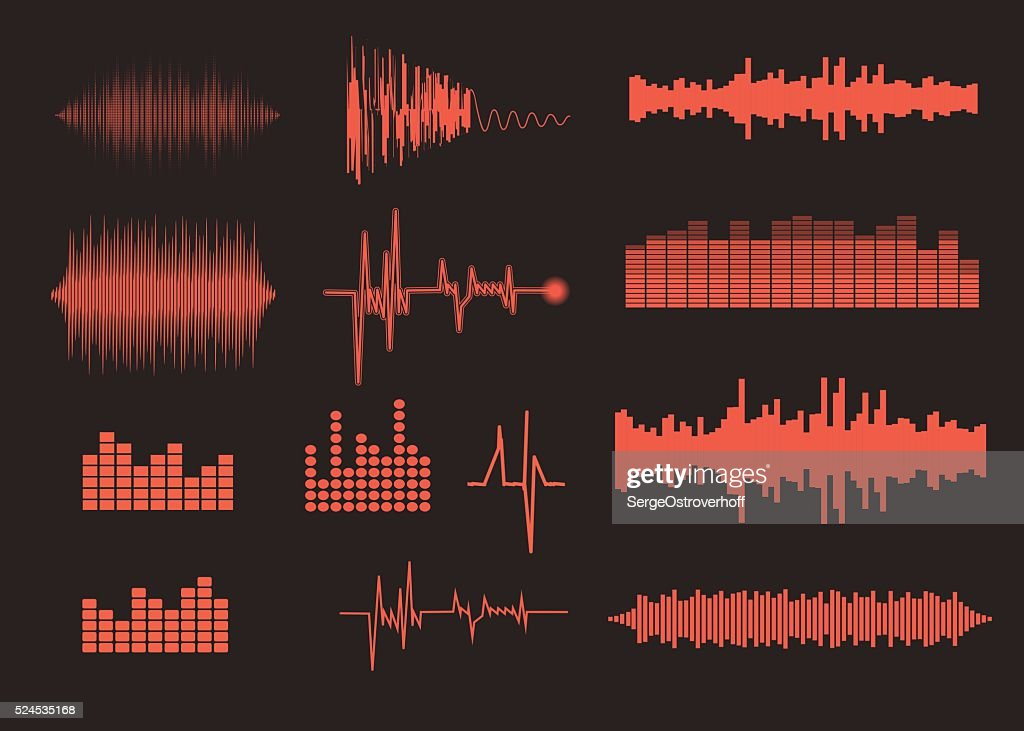 Sound waves set. Music background. EPS 10 vector file included