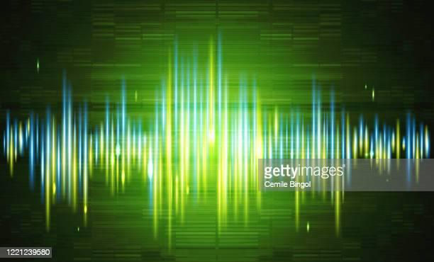 stockillustraties, clipart, cartoons en iconen met achtergrond geluidsgolvenvector - oscilloscoop